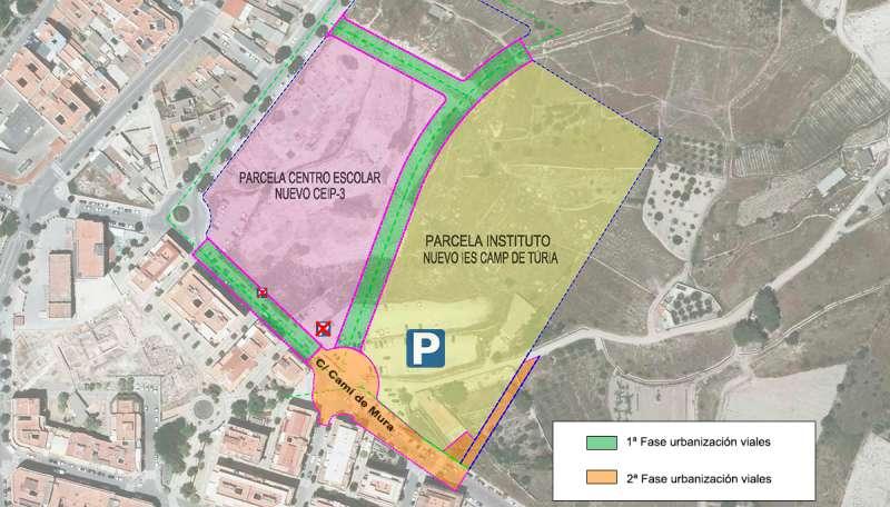 Planos de los viales al nuevo instituto y colegio de Mura. / EPDA