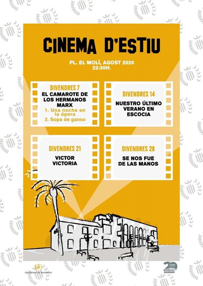 Cartel programación Cine d´estiu Benetússer./ EPDA