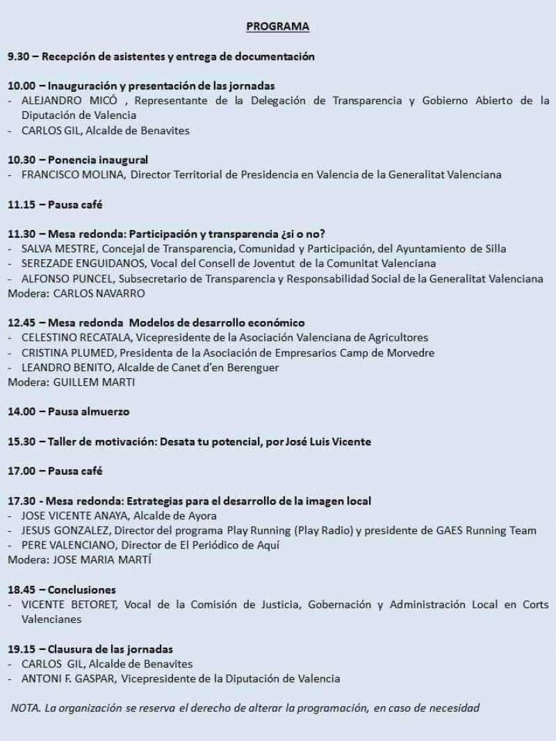 Programa de las Jornadas de Benavites.