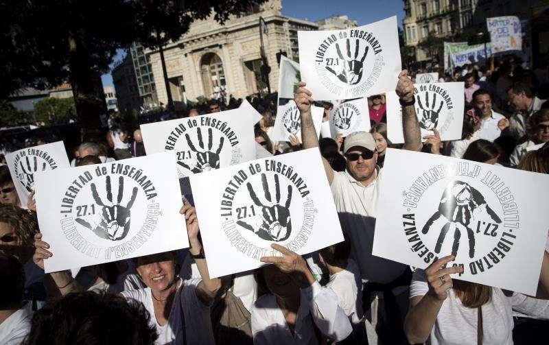 Una manifestación en defensa de la educación concertada. EPDA