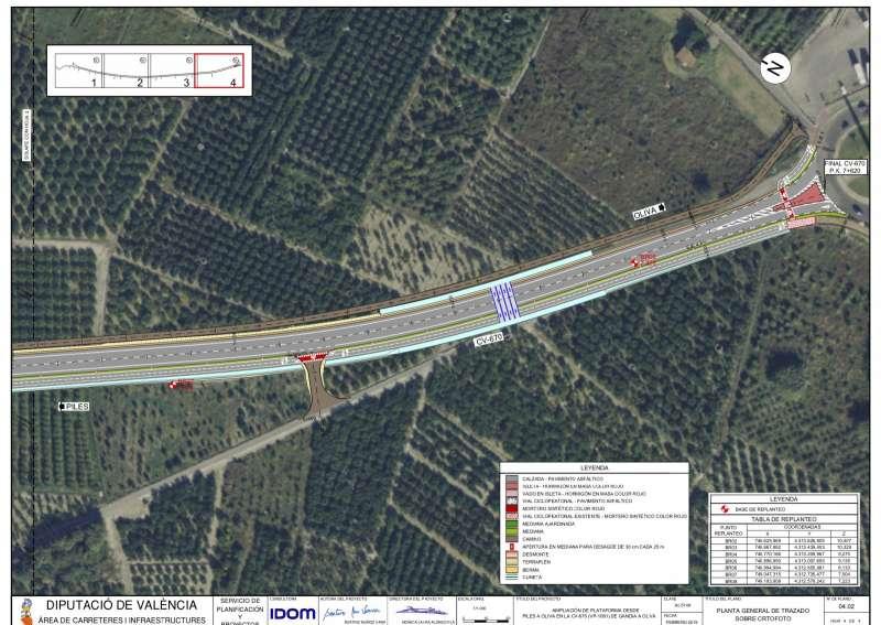 Planos carretera Oliva-Piles./PDA