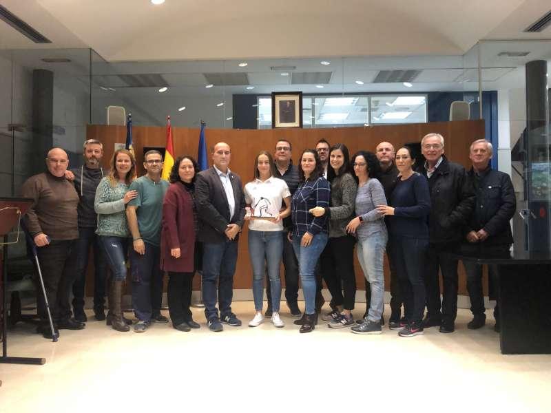 Homenaje a Irene, jugadora de Pilota Valenciana en el Ayuntamiento de Massamagrell. -EPDA