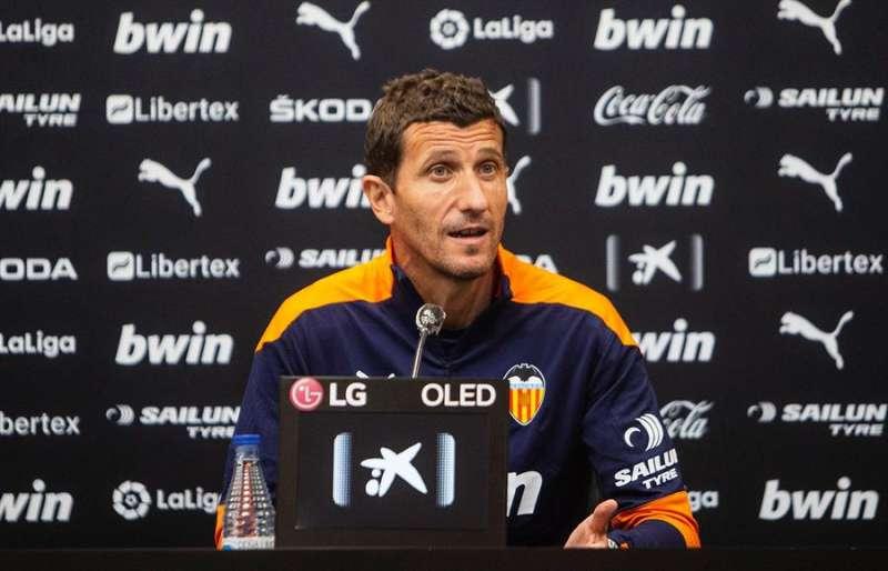 El entrenador del Valencia CF, Javi Gracia, durante su rueda de prensa. Foto cedida por el Valencia CF