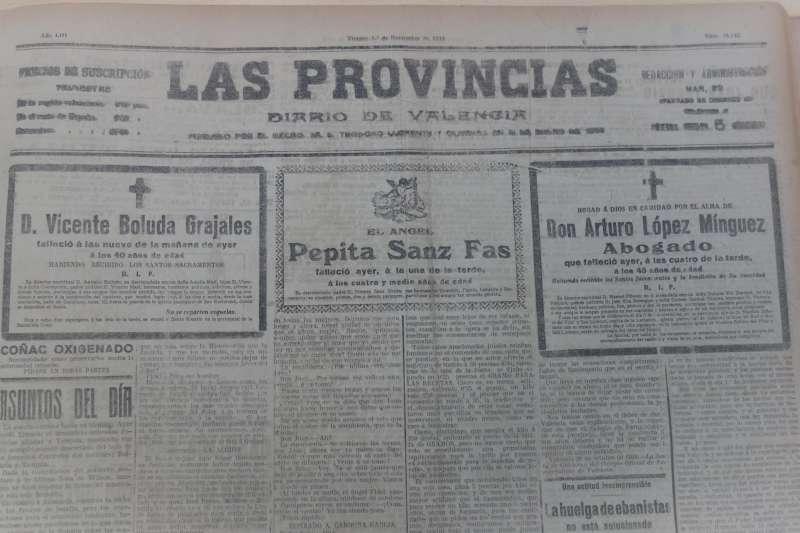 Prensa 1 de noviembre 1918. (Hemeroteca Valencia). / EPDA