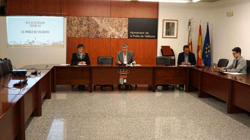 Presentación del Plan COVID-19 con los concejales Juan Aguilar, Jaime Ruix, Regina Llavata y el alcalde, Josep Vicent Garcia. / EPDA