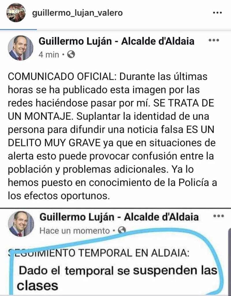 Comunicado del alcalde y cuenta falsa. EPDA