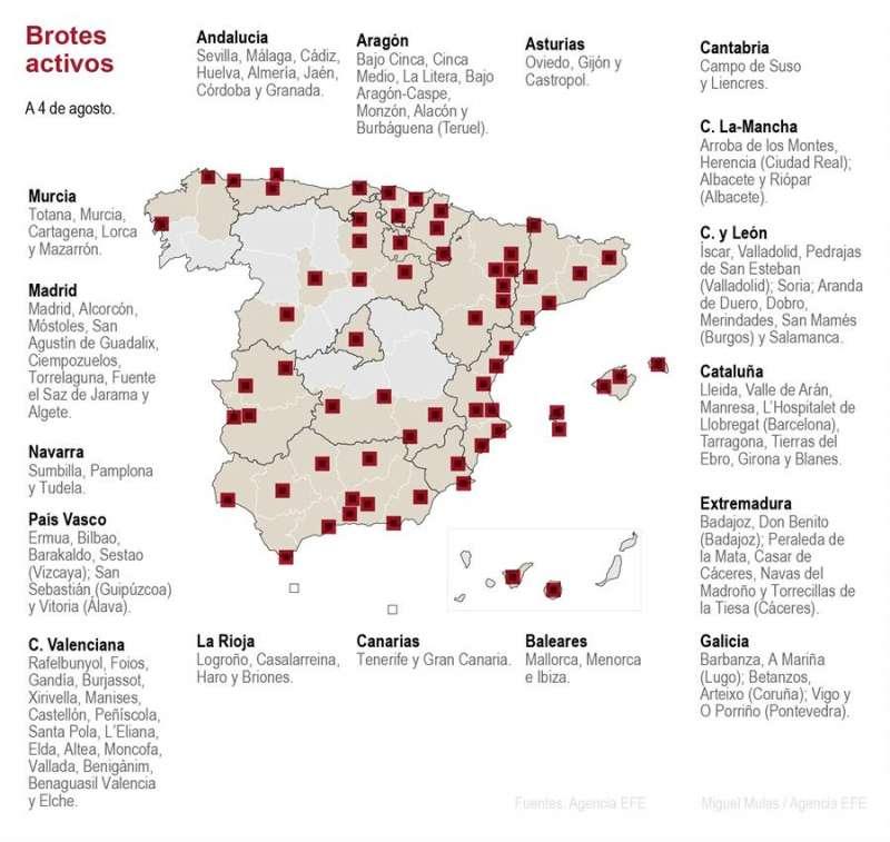 Mapa de los brotes activos de coronavirus en España. EFE