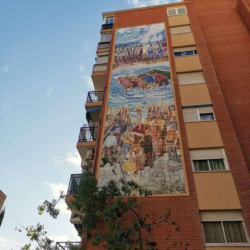 Imagen del Cristo del Salvador (s. XIII) pintada en una finca de Valencia. B. BUENO