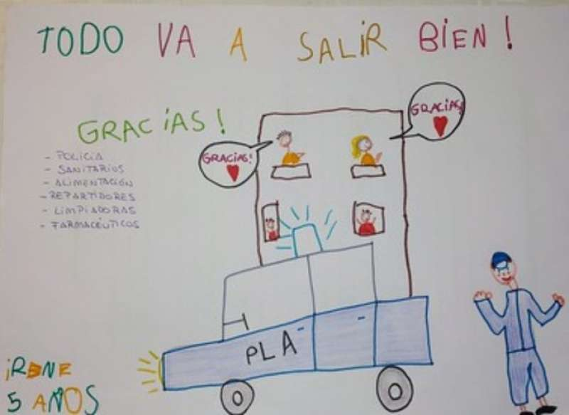 Dibujo del confinamiento realizado por Irene. EPDA
