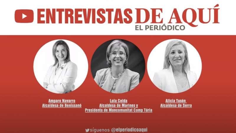 Las alcaldesas Amparo Navarro, Lolca Celda y Alicia Tusón
