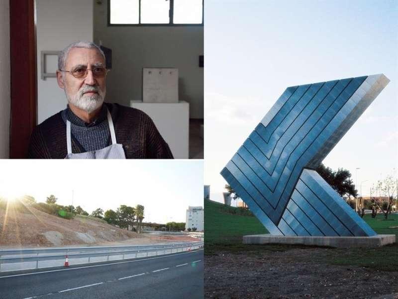 La escultura, el artista y el lugar donde estaba la obra, en un combo de imágenes compartido en su momento en Twitter por el Instituto de Arte Contemporáneo