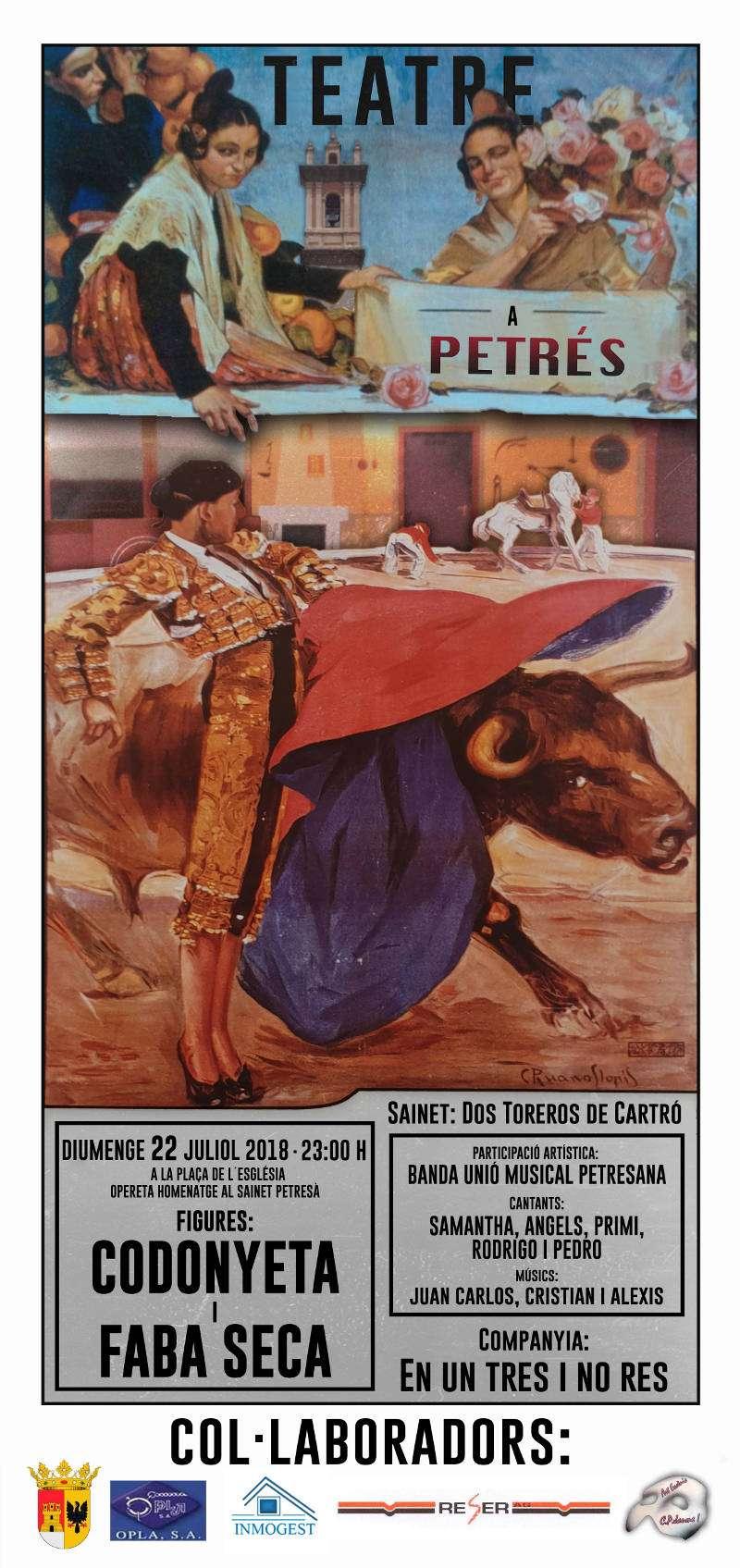 Cartel de la obra de teatro de la nueva compañía de Petrés. EPDA