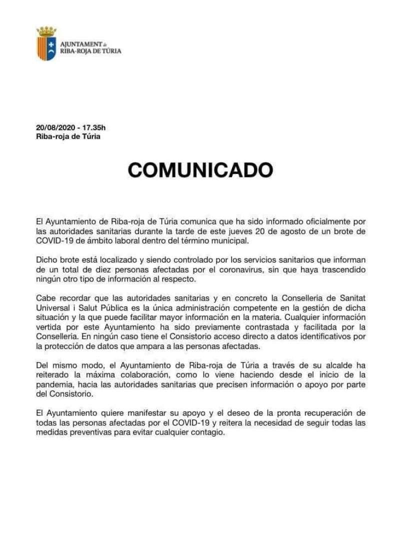 Comunicado del Consistorio de Riba-roja. EPDA