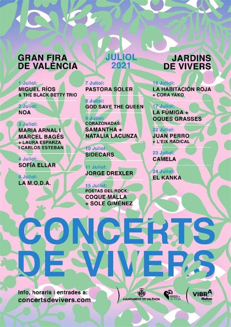 Cartel de los conciertos de Viveros facilitado por la organización.