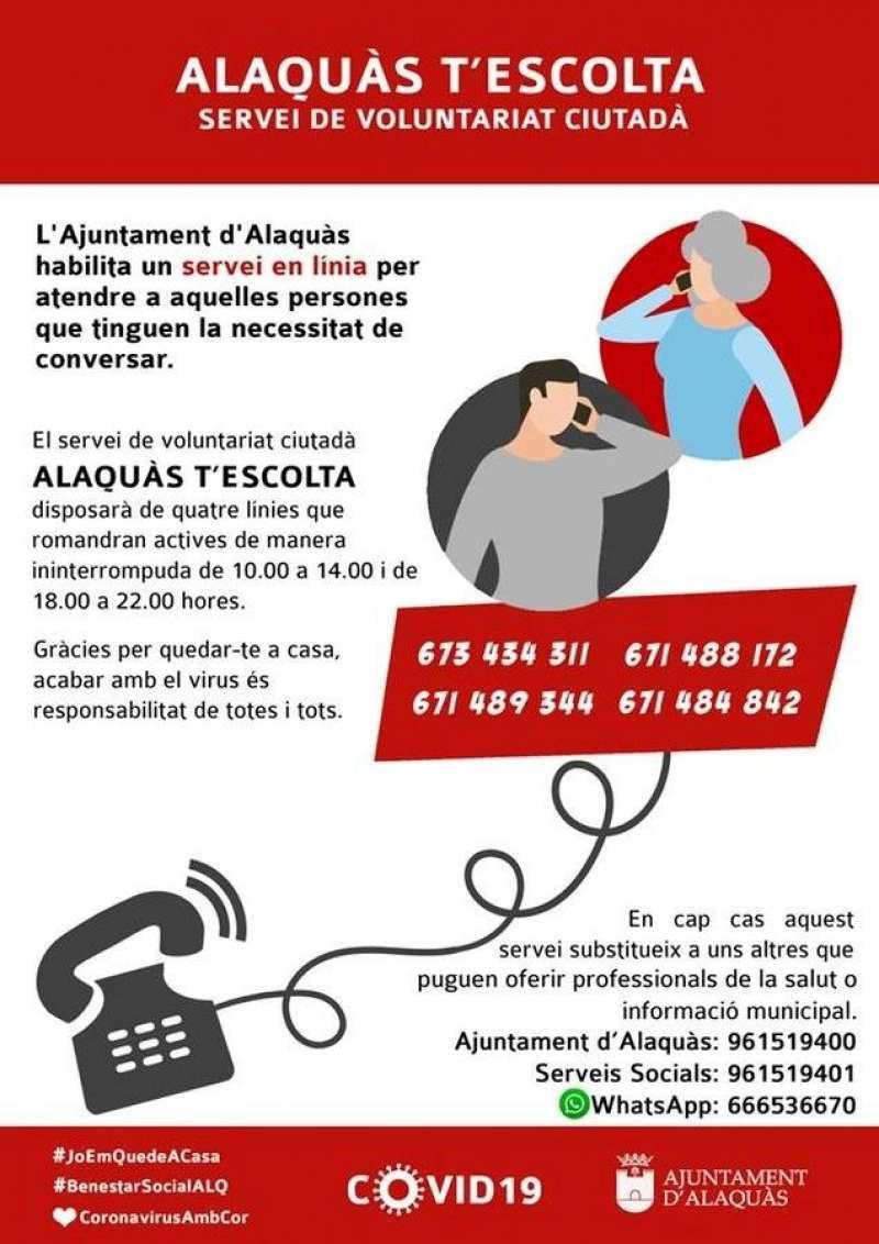 Una de las iniciativas para paliar la soledad y miedos de los mayores, el teléfono dispuesto por el Ayuntamiento de la localidad valenciana de Alaquàs (su campaña, en la imagen).