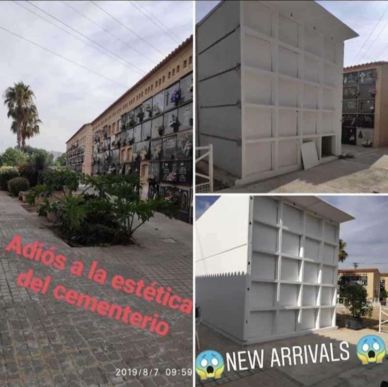 Imagen de los nuevos módulos instalados en el cementerio de Benetússer. EPDA