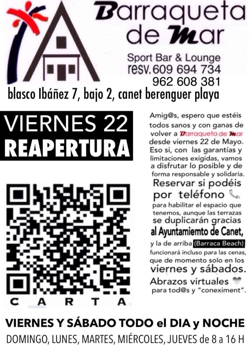 Cartel de la reapertura de Barraqueta de Mar.