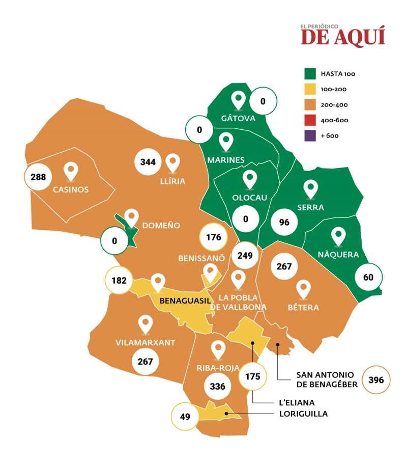 Mapa de la incidencia del coronavirus en Camp de Túria. / EPDA