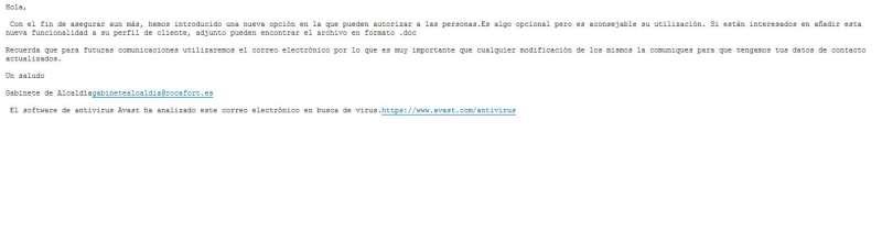 Uno de los correos enviados desde las cuentas del Ayuntamiento Rocafort. EPDA