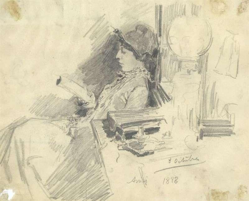 Clotilde leyendo, de 1888, una de las obras de la expo en el Museo Sorolla