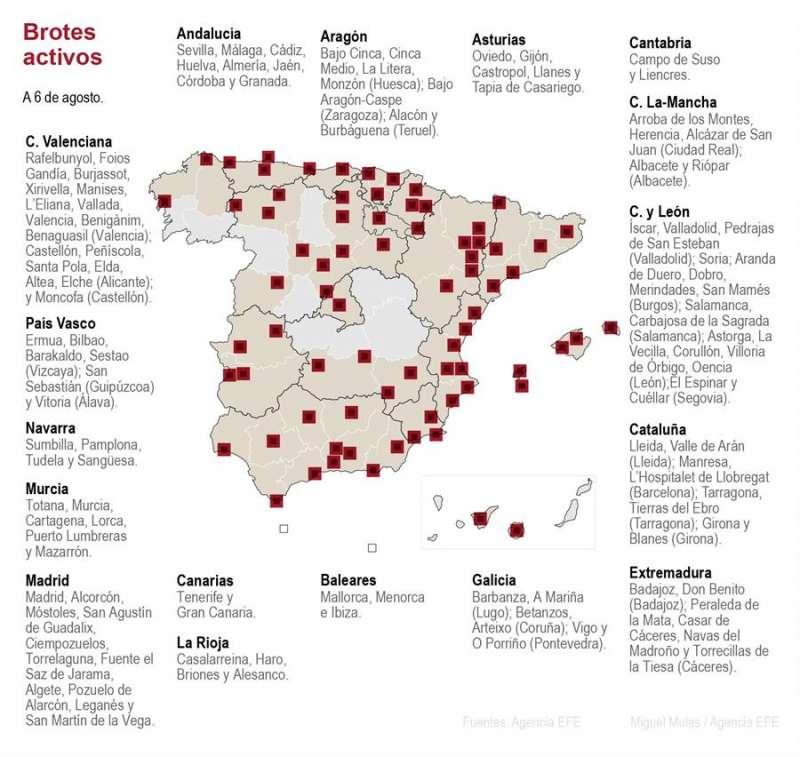 Mapa de los brotes a 6 de agosto en España. EFE