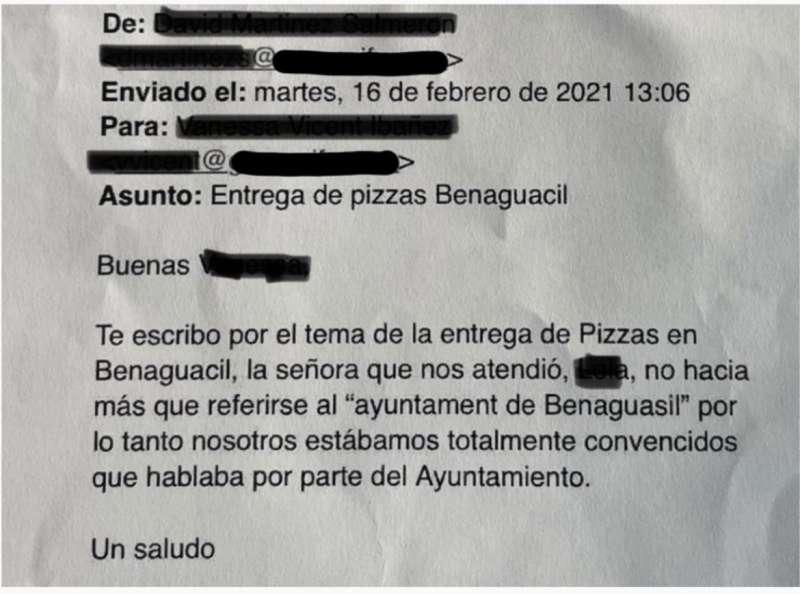 Uno de los dos correos enviados por la empresa al Ayuntamiento. EPDA