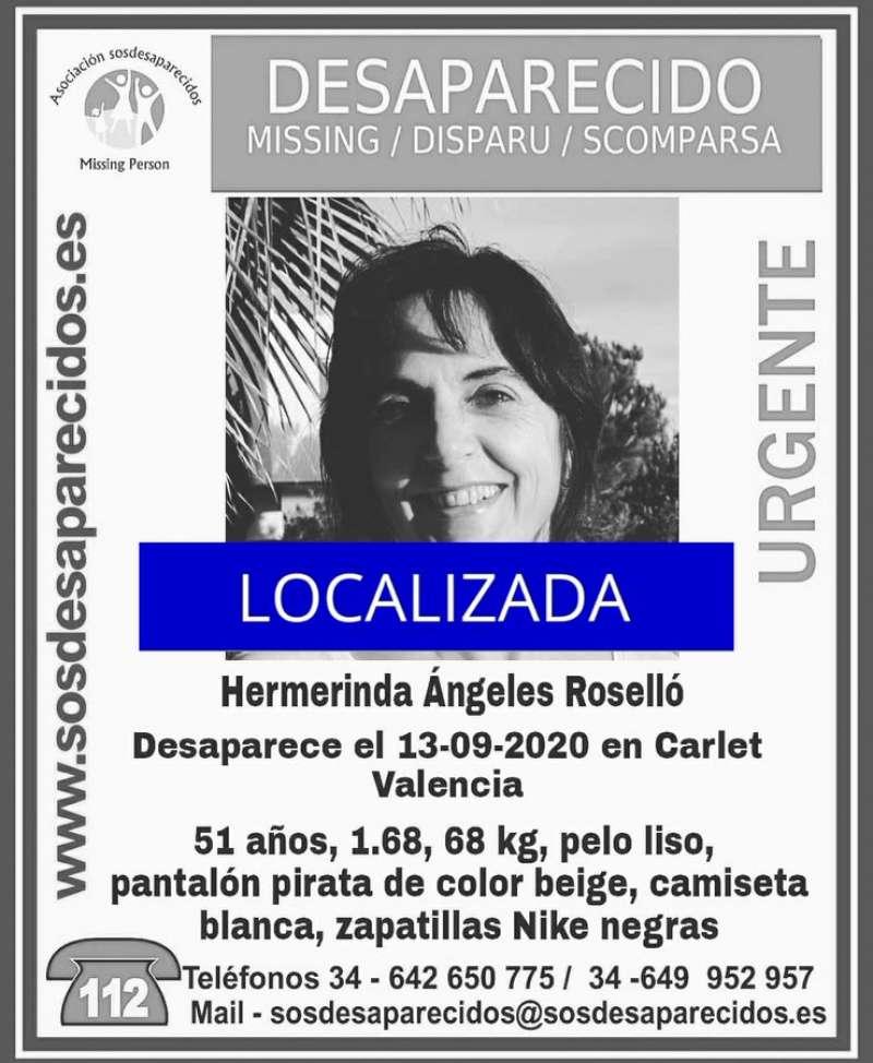 Cartel de la mujer desaparecida en Carlet, ahora localizada.