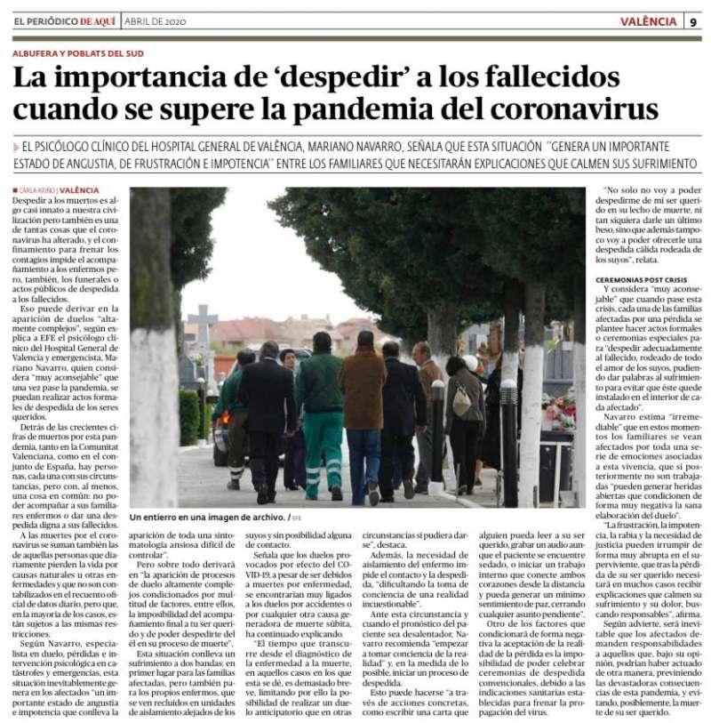 Reportaje sobre la importancia del duelo de las personas que han fallecido durante la pandemia.