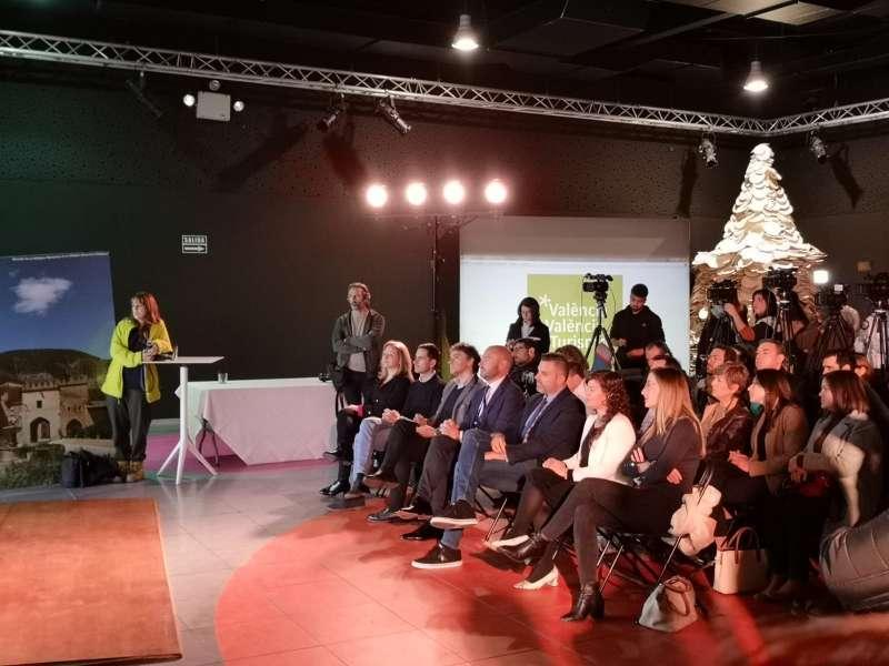 Autoritats i premsa aquest matí a la presentació de la nova marca de València Turisme. -EPDA